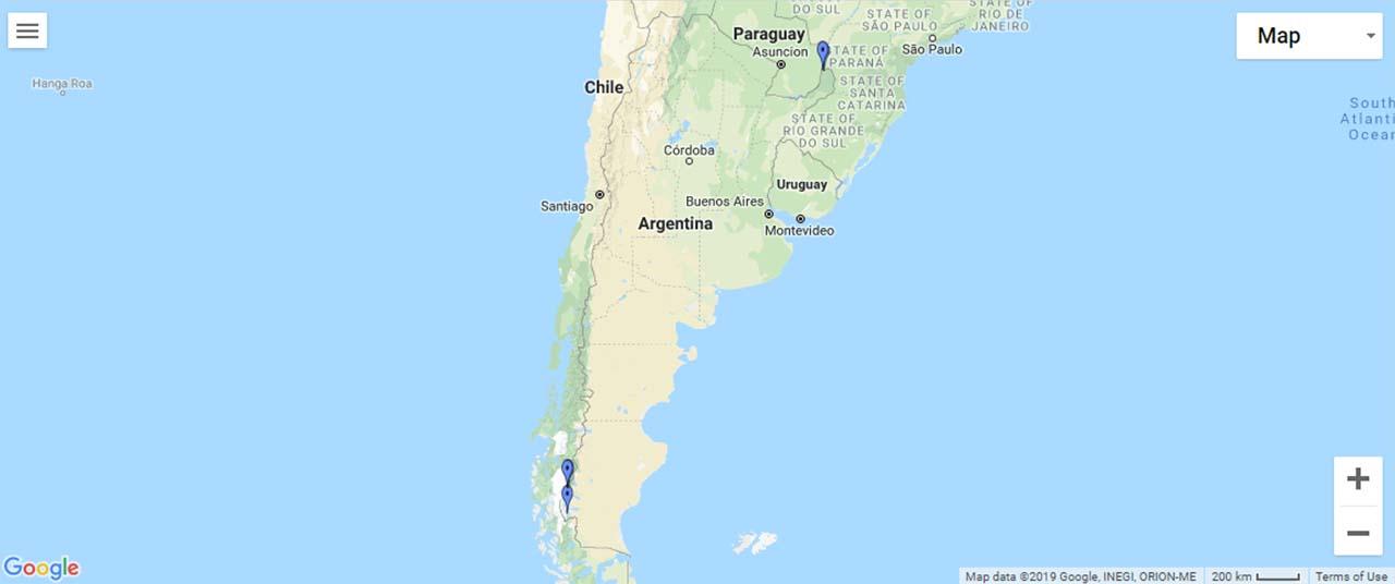 Argentina Waterfalls Map