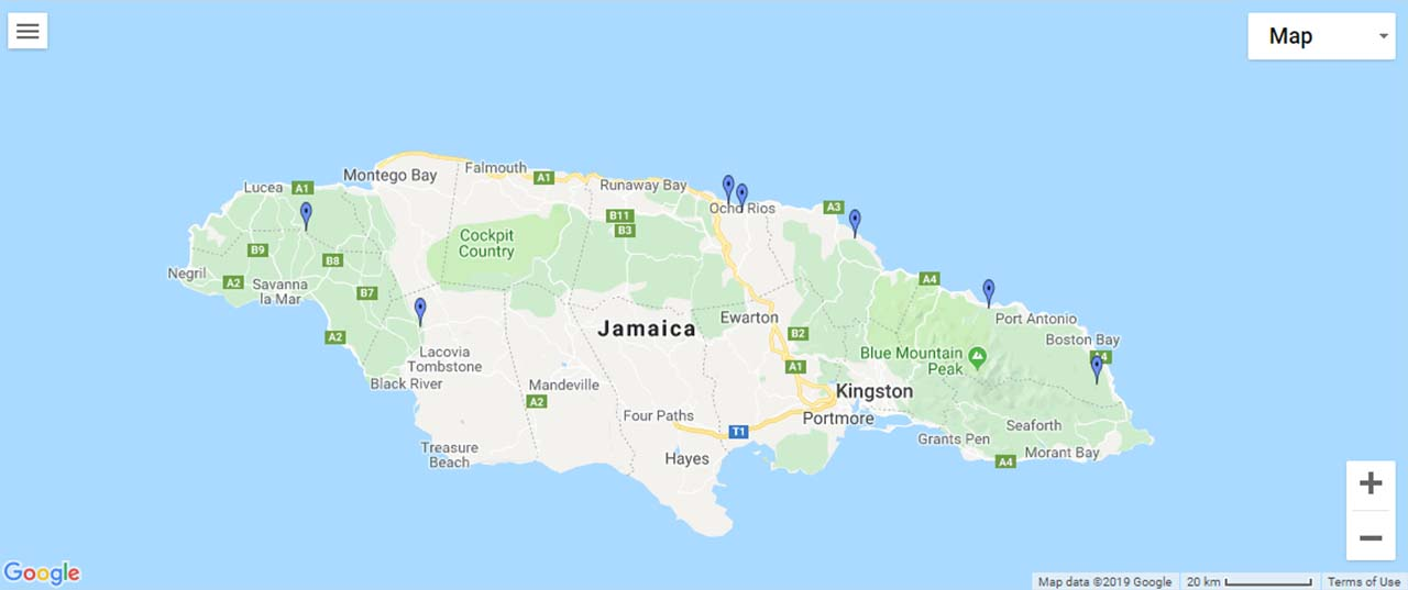 Jamaica Waterfalls Map