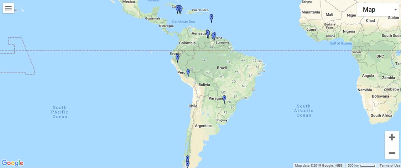 Latin America and Caribbean Waterfalls Map