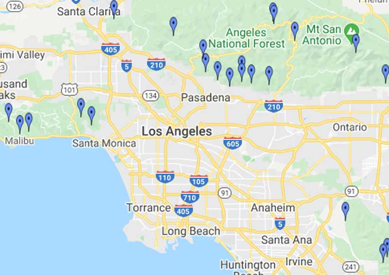 Map of waterfalls in Los Angeles and Orange County
