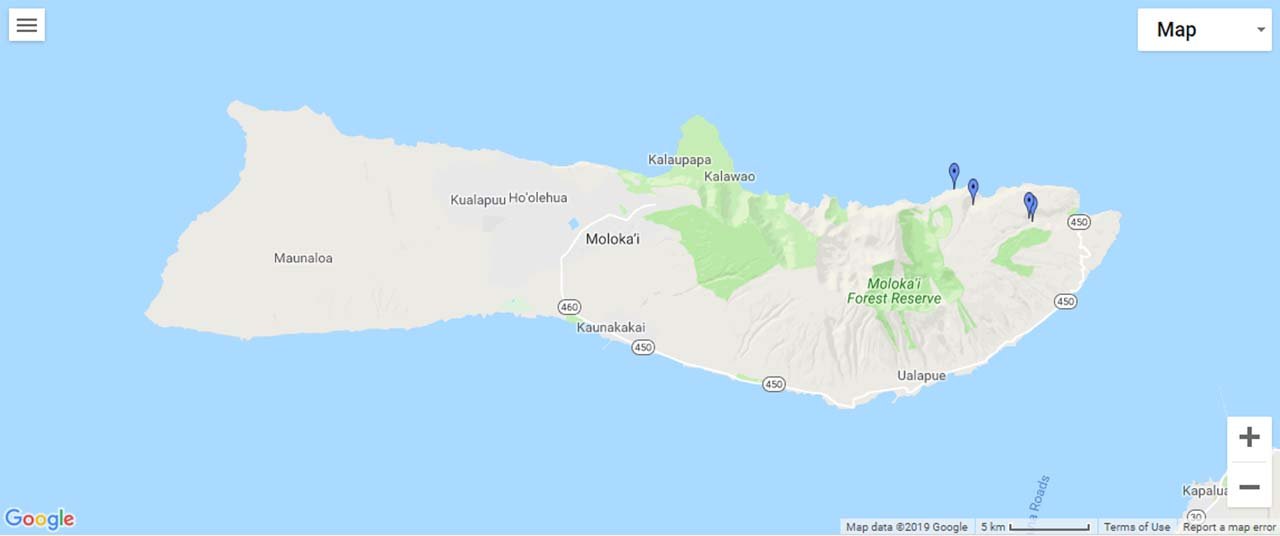 Molokai (Hawaii) Waterfalls Map