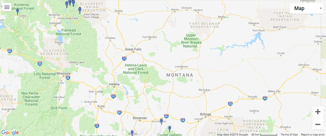 Montana Waterfalls Map