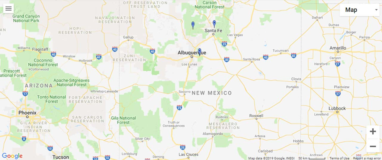 New Mexico Waterfalls Map