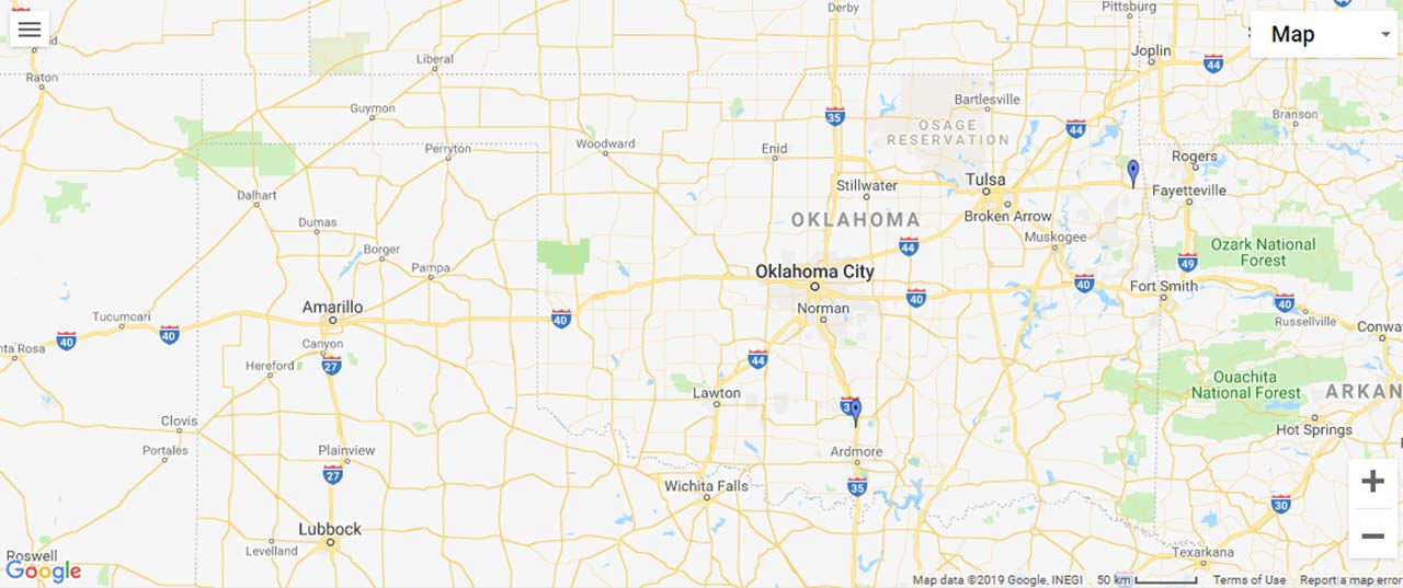 Oklahoma Waterfalls Map