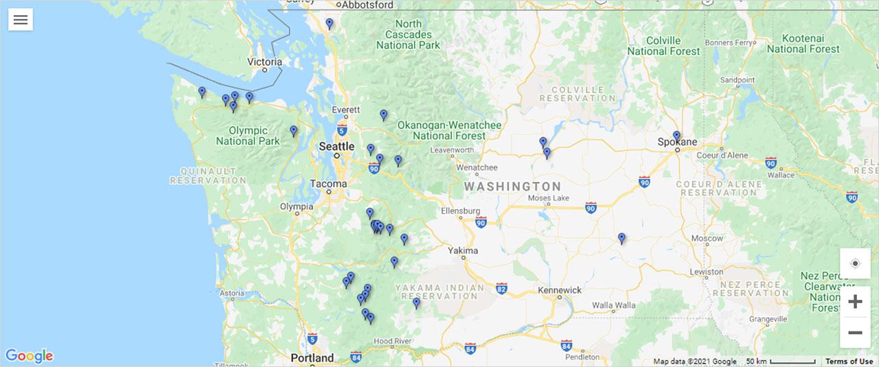 Palouse Falls Washington Map.Washington World Of Waterfalls