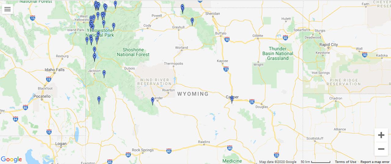 Wyoming Waterfalls Map