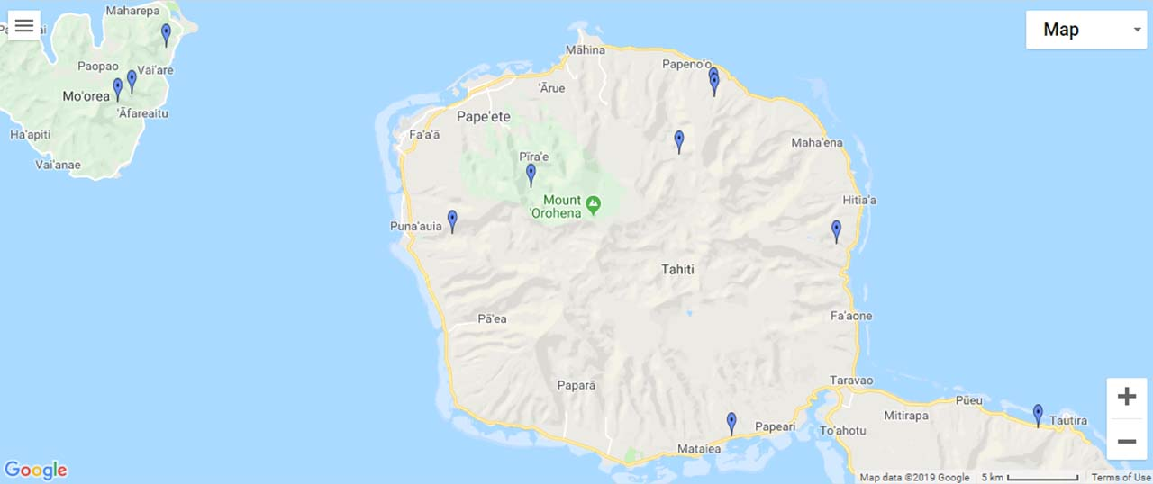 Tahiti (French Polynesia) Waterfalls Map