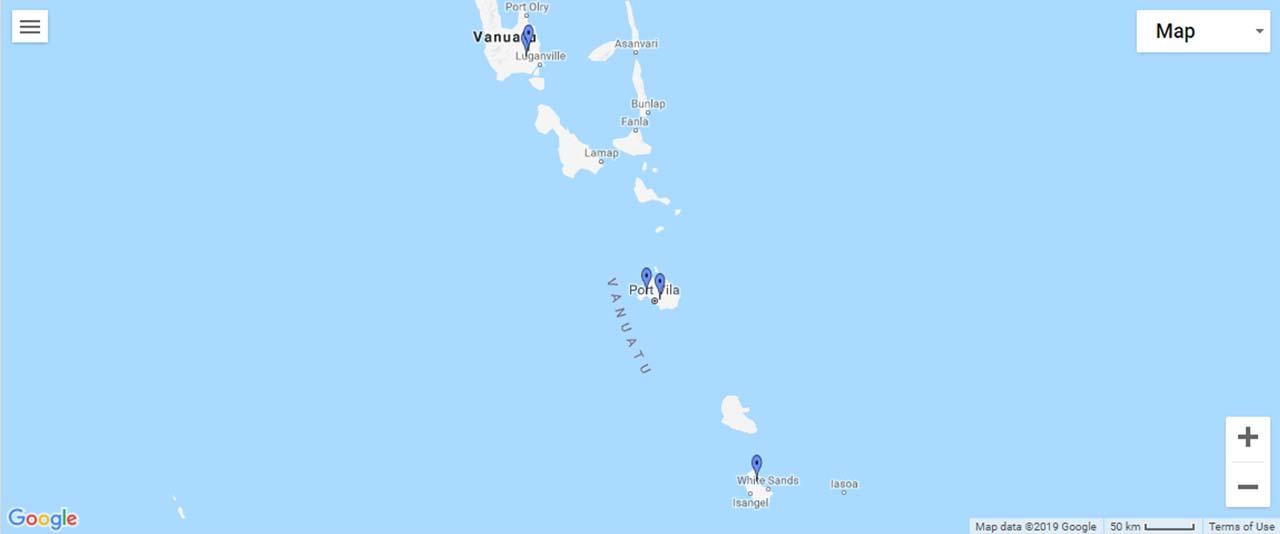 Vanuatu Waterfalls Map
