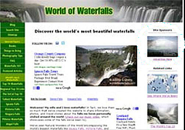Taking another trip down memory lane to see how the World of Waterfalls website looked like from around 2008-2009 time frame