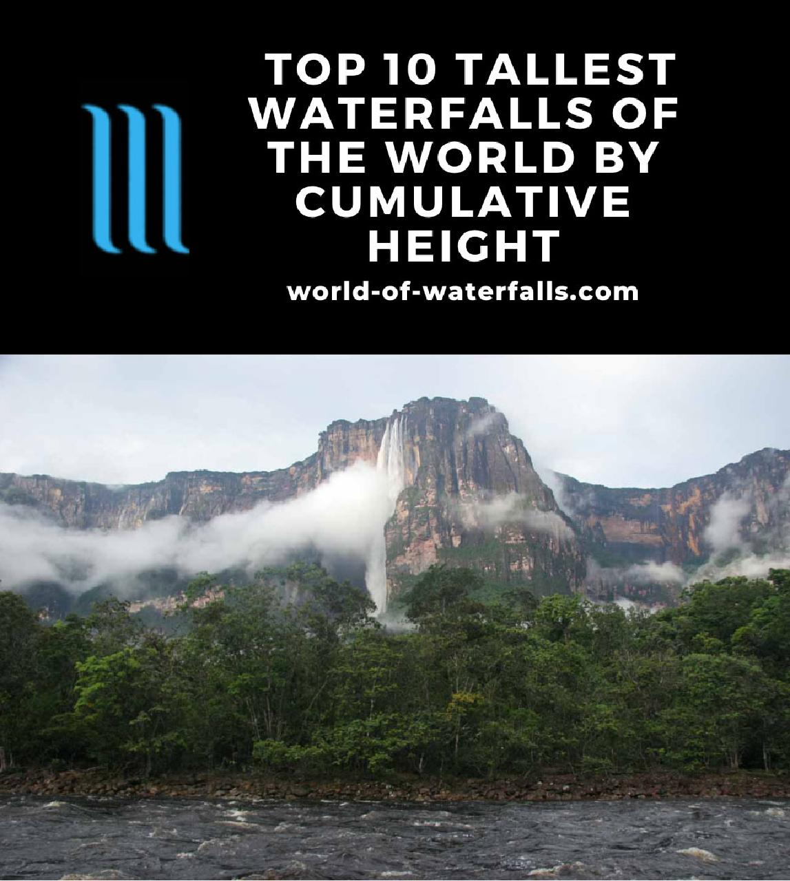 The 10 Tallest Waterfalls of the World based on Cumulative Height