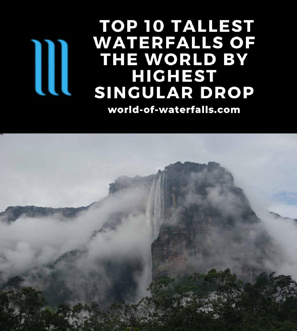 The 10 Tallest Waterfalls of the World based on highest singular drop