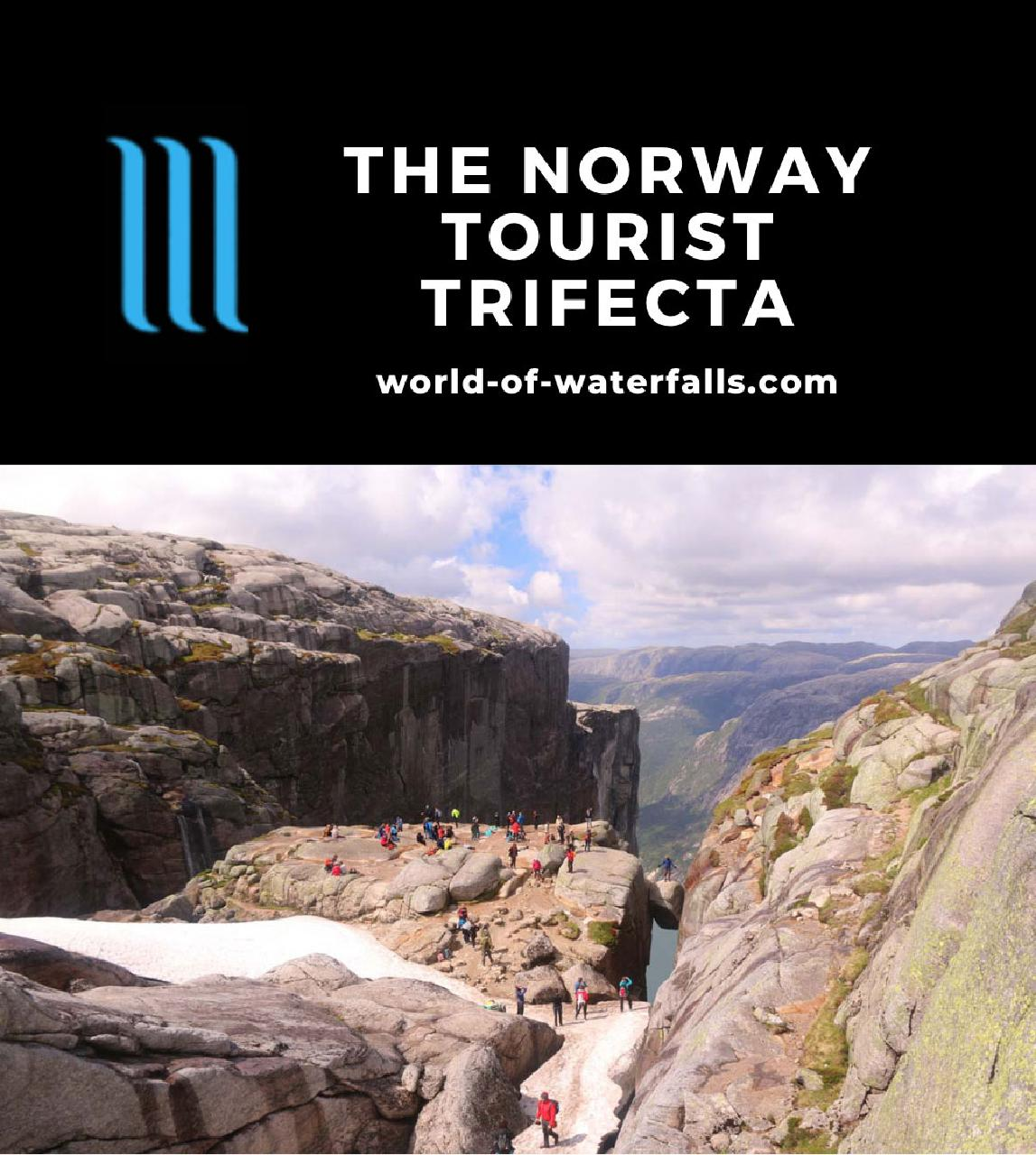 Kjeragbolten, which was one of the Norway Tourist Trifecta of Preikestolen, Kjerag, and Trolltunga