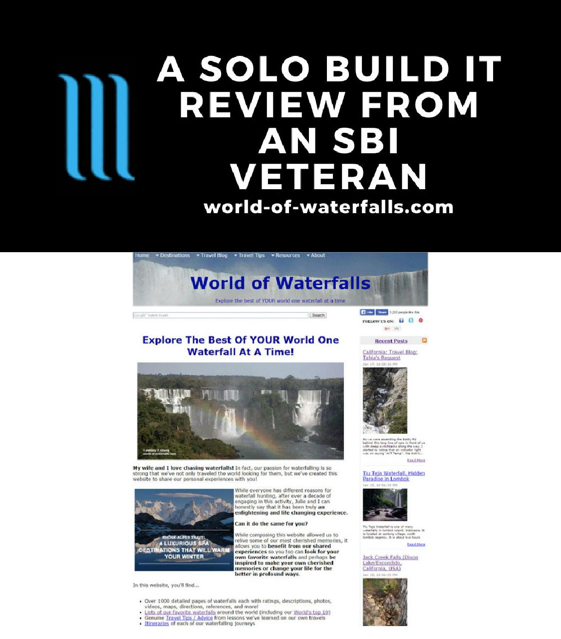How the World of Waterfalls website looked when it was hosted and built on the Solo Build It (Site Build It) platform