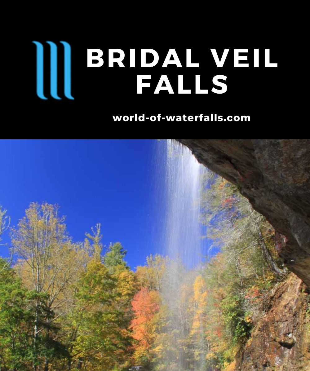 Bridal_Veil_Falls_022_20121016 - Looking out from behind Bridal Veil Falls against bright blue skies and Fall colors