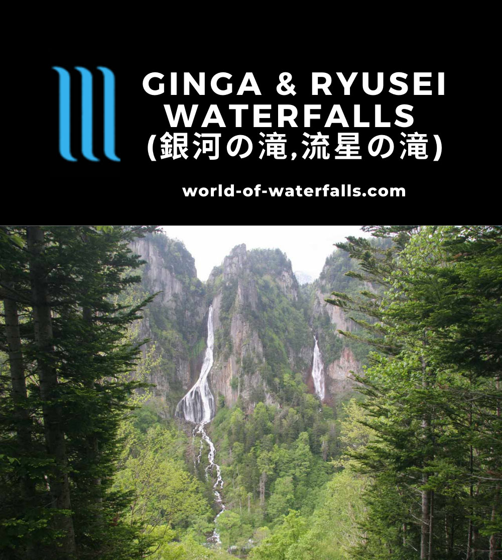 Daisetsuzan_033_06052009 - The Ginga Waterfall (left) and the Ryusei Waterfall (right)