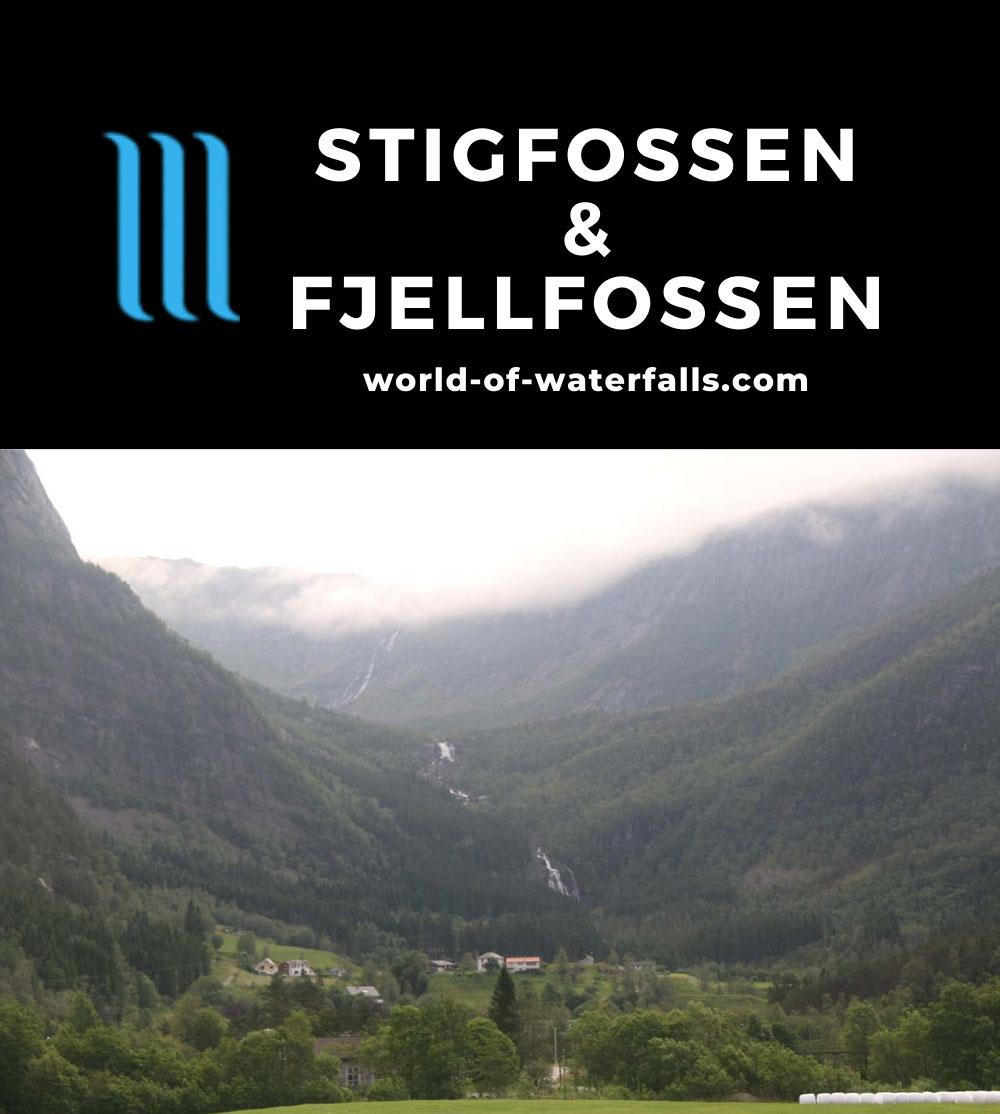 Eidslandet_001_06272019 - Contextual view of both Stigfossen (bottom) and Fjellfossen (top) as seen from the hamlet of Eidslandet in Vaksdal