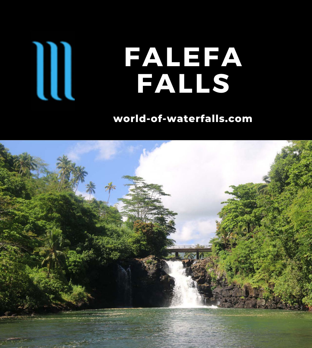 Falefa_Falls_026_11122019 - Frontal view of Falefa Falls with a smaller companion segment of the falls in the shadow