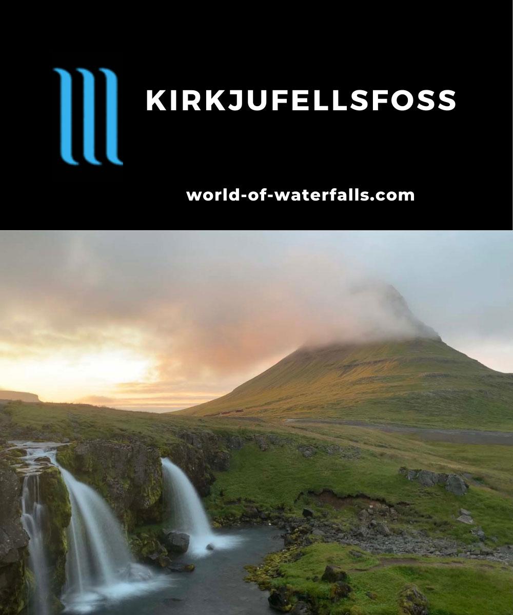 Kirkjufellsfoss_sunset_005_iPhone_08172021 - The famous view of Kirkjufellsfoss and Mt Kirkjufell as seen at sunset