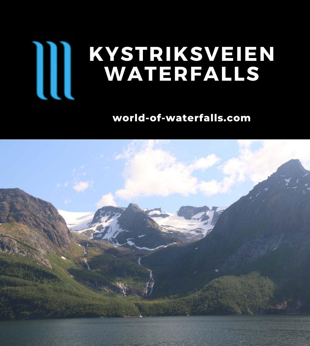 Kystriksveien_242_07082019 - Waterfalls tumbling beneath some of the receded glacier arms of the Svartisen Glacier