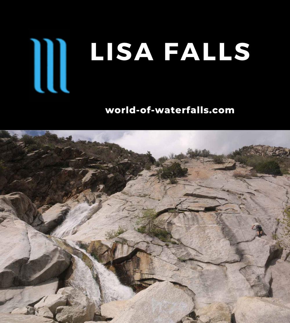Lisa_Falls_047_05262017 - Context of Lisa Falls and an abseiler climbing alongside its granite-like cliff face