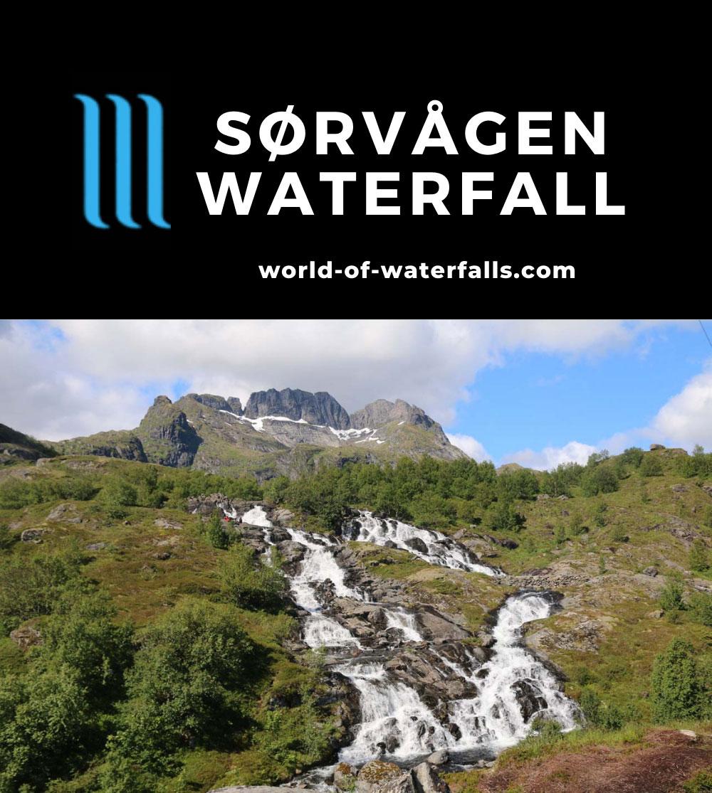 Lofoten_282_07032019 - The Sørvågen Waterfall backed by the ridges of Støvla