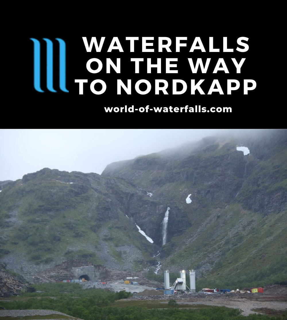 Nordkapp_pursuit_047_07062019 - The gushing Skarvbergvika Waterfall fronted by lots of road construction appearing to be focused on some kind of new tunnel