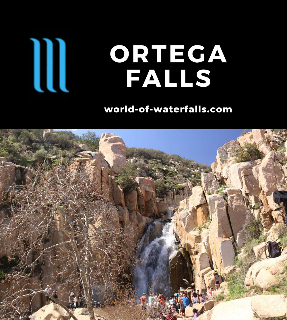 Ortega_Falls_084_03172019 - Ortega Falls in healthy flow with lots of visitors on a warm St Patrick's Day in 2019