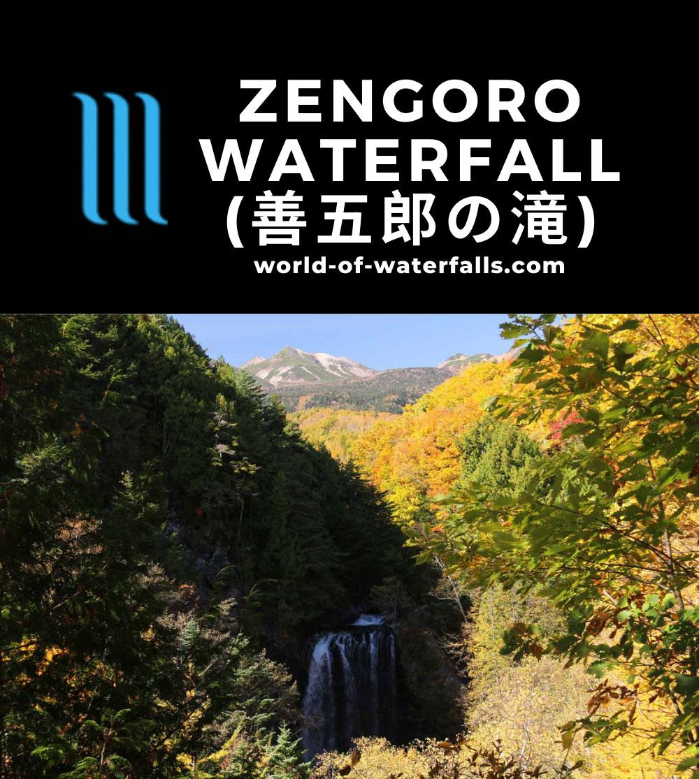 Zengoro_Falls_030_10192016 - Zengoro Waterfall backed by Mt Norikura in the distance
