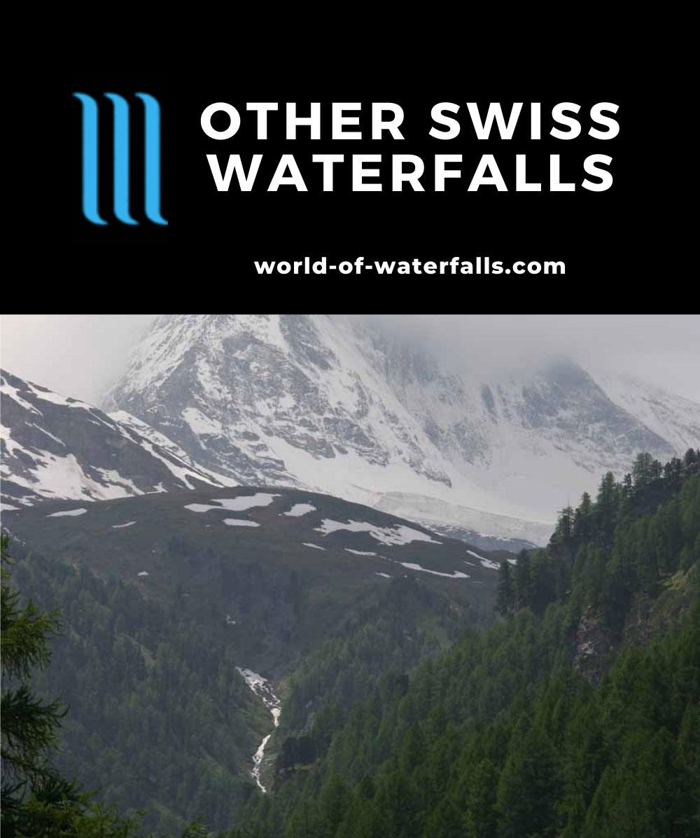 Zermatt_037_06122010 - Waterfall tumbling before a cloud-obstructed Matterhorn in Zermatt