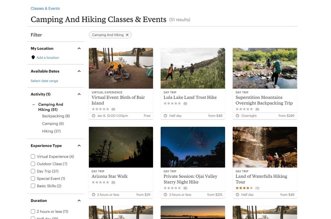 Browsing online at the class and events catalog for hikes run by REI