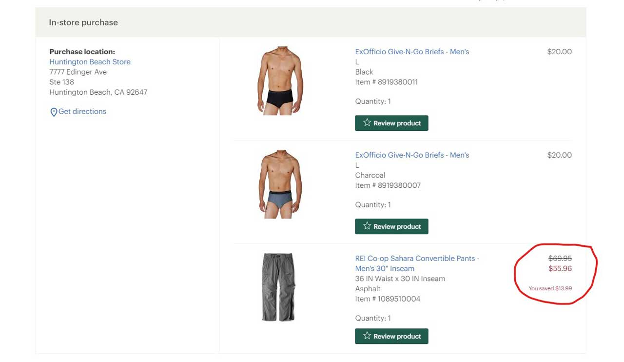 Here is an example from my shopping history showing how I applied my 20% discount on a hiking pant