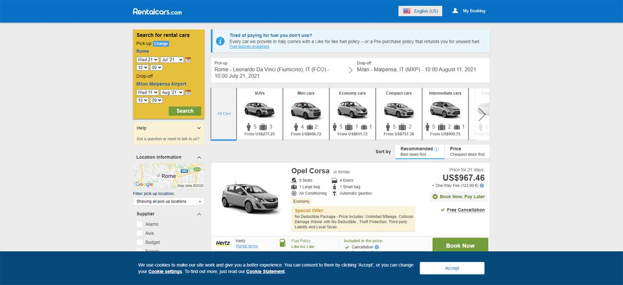 Rentalcars.com is an example of a booking engine from a company whose sole purpose is to scrape the web and present the buyer with rental car options