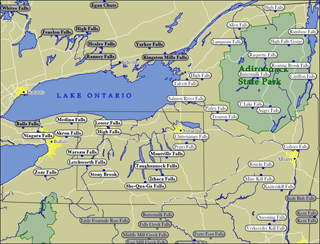 Map Of Upstate New York State.New York Reviews Of Travel Resources World Of Waterfalls