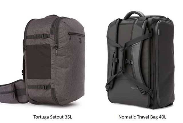 Some alternatives to the Osprey Farpoint 40 Travel Backpack are the Tortuga Setout 35L and the Nomatic 40L Travel Pack