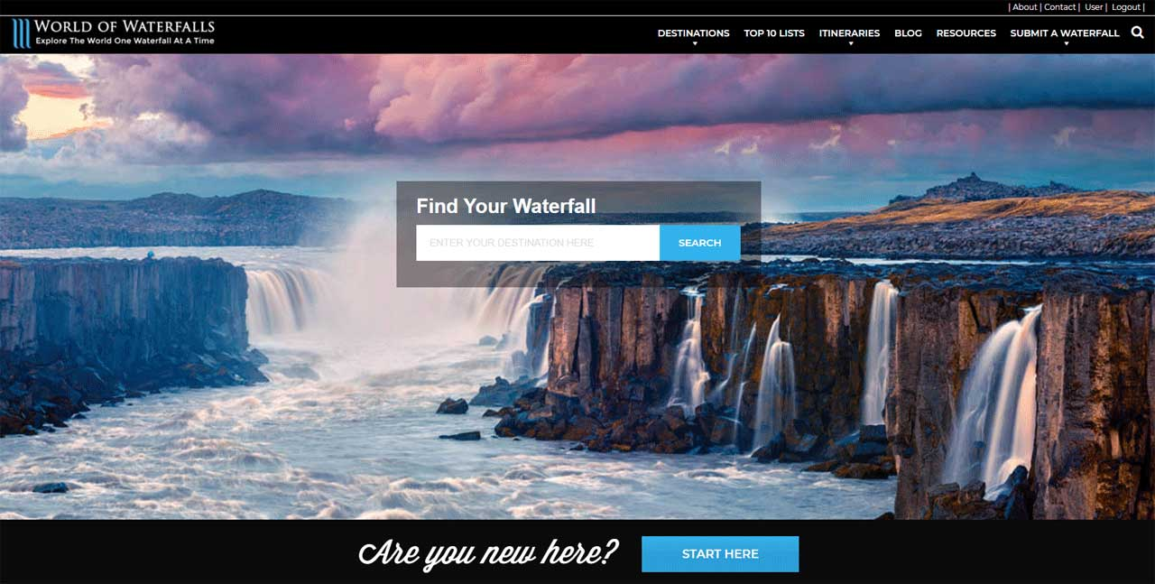 This was the World of Waterfalls after finally relaunching it on the WordPress platform